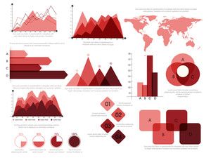 Colorful creative Business Infographic elements set including statistical charts, graphs, world map and bar.