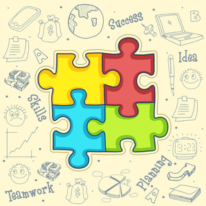 Colorful creative illustration of puzzle with various big set of business infographic elements.s