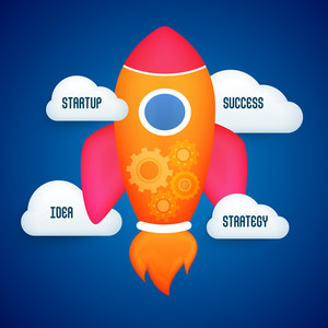 Colorful creative rocket for Start up a new Business concept on glossy blue background.