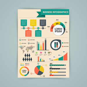 Colorful different infographics elements showing business growth statistics for professional presentation.