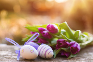 Colorful easter eggs and beautiful spring flowers laid on a floor.