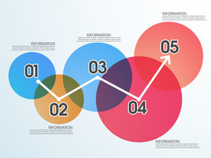 Colorful infographic circles with numkbers on shiny background for business reports and presentation.