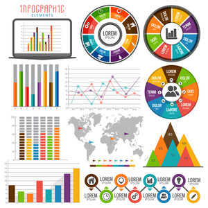 Colorful Infographics with various statistics elements