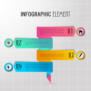 Colorful paper infographic arrows with web symbols for Business concept.