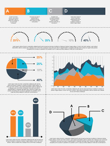 Colorful pie charts, bars and graphs infographics for professional data presentation on grey background.