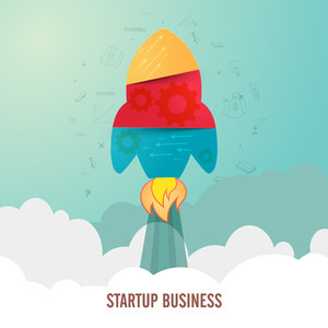 Colorful rocket flying above clouds, Creative vector illustration for New Business Start Up concept.