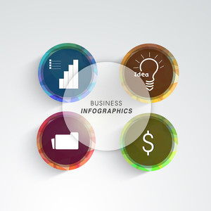 Colorful set of different business infographics on grey background.