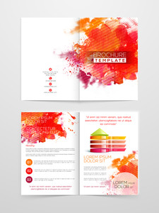 Colorful splash and infographic element decorated Professional Brochure, Template or Flyer design with front and back page view.