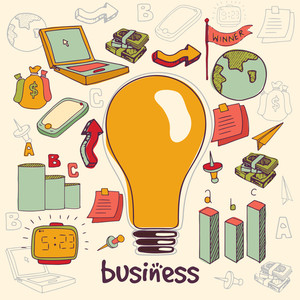 Colorful stylish business infographic elements with big electric bulb for Idea concept.
