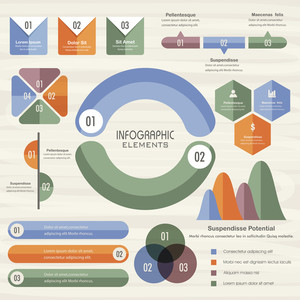 Colorful various Business Infographic elements including statistical charts, graphs and bars.