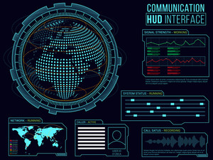 Communication HUD Interface layout, Abstract virtual graphic touch user interface, Set of Web and Statistical Infographic elements, HUD UI for Business Apps, Creative futuristic hi-tech background.