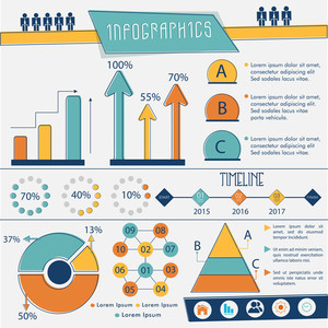 Complete Infographics layout including arrow, statistical bar, circle and triangle for your professional presentation.