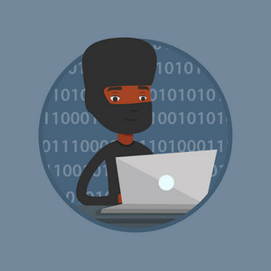 Computer hacker in mask working on laptop on the background with binary code. Hacker using laptop to steal personal information. Vector flat design illustration in the circle isolated on background.