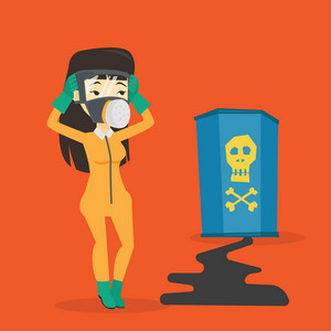 Concerned woman in respirator and radiation protective suit clutching head. Young woman in radiation suit looking at leaking barrel with radiation sign. Vector flat design illustration. Square layout.