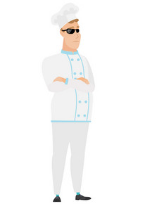 Confident chef cook wearing sunglasses. Full length of chef cook in sunglasses. Serious chef cook in sunglasses standing with crossed arms. Vector flat design illustration isolated on white background