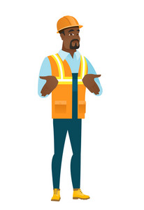 Confused african-american builder shrugging his shoulders. Full length of doubtful young builder gesturing hands and shrugging shoulders. Vector flat design illustration isolated on white background.