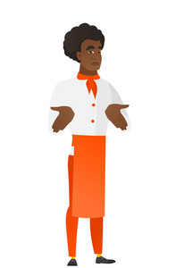 Confused african-american chef cook shrugging his shoulders. Full length of doubtful chef cook gesturing hands and shrugging his shoulders. Vector flat design illustration isolated on white background