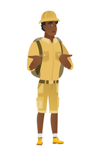 Confused african-american traveler shrugging his shoulders. Full length of doubtful traveler gesturing hands and shrugging his shoulders. Vector flat design illustration isolated on white background.