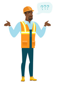 Confused african builder with spread arms. Full length of young confused builder with question marks. Confused builder shrugging shoulders. Vector flat design illustration isolated on white background