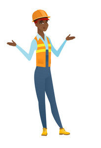 Confused african builder with spread arms. Full length of young confused builder with spread arms. Confused builder shrugging shoulders. Vector flat design illustration isolated on white background