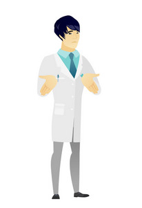 Confused asian doctor in medical gown shrugging his shoulders. Full length of doubtful doctor gesturing hands and shrugging his shoulders. Vector flat design illustration isolated on white background.