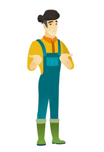 Confused asian farmer in coveralls shrugging his shoulders. Full length of doubtful farmer gesturing hands and shrugging his shoulders. Vector flat design illustration isolated on white background.