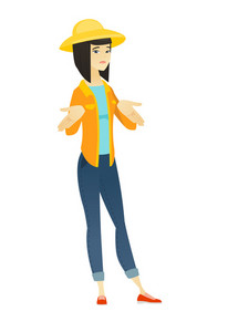 Confused asian farmer in summer hat shrugging her shoulders. Full length of doubtful farmer gesturing hands and shrugging her shoulders. Vector flat design illustration isolated on white background.