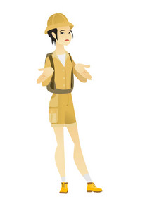 Confused asian traveler shrugging her shoulders. Full length of young doubtful traveler gesturing hands and shrugging her shoulders. Vector flat design illustration isolated on white background.