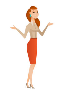 Confused business woman with spread arms. Full length of confused caucasian business woman. Confused business woman shrugging shoulders. Vector flat design illustration isolated on white background.