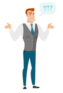 Confused businessman with spread arms. Full length of confused businessman with question marks. Confused businessman shrugging shoulders. Vector flat design illustration isolated on white background.