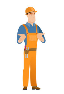 Confused caucasian builder shrugging his shoulders. Full length of doubtful young builder gesturing hands and shrugging his shoulders. Vector flat design illustration isolated on white background.