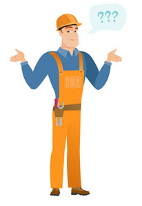Confused caucasian builder with spread arms. Full length of confused builder with question marks. Confused builder shrugging shoulders. Vector flat design illustration isolated on white background.