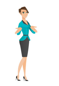 Confused caucasian business woman shrugging her shoulders. Full length of doubtful business woman gesturing hands and shrugging shoulders. Vector flat design illustration isolated on white background.