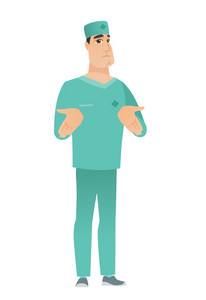 Confused caucasian doctor in uniform shrugging his shoulders. Full length of doubtful doctor gesturing hands and shrugging his shoulders. Vector flat design illustration isolated on white background.