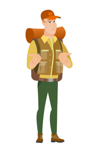 Confused caucasian traveler shrugging his shoulders. Full length of doubtful traveler gesturing hands and shrugging his shoulders. Vector flat design illustration isolated on white background.