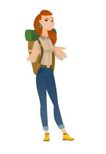 Confused caucasian traveler woman shrugging her shoulders. Full length of doubtful traveler gesturing hands and shrugging her shoulders. Vector flat design illustration isolated on white background.