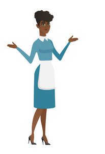Confused cleaner with spread arms. Full length of confused african female cleaner in uniform. Young confused cleaner shrugging shoulders. Vector flat design illustration isolated on white background.