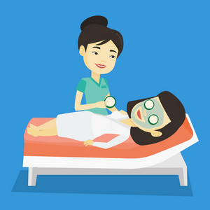 Cosmetologist applying cosmetic mask on face of woman in beauty salon. Woman with face mask relaxing in beauty salon. Woman having beauty treatments. Vector flat design illustration. Square layout.