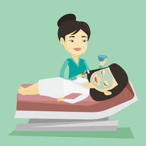 Cosmetologist applying facial cosmetic mask on face of asian client in beauty salon. Young woman lying on table in salon during cosmetology procedure. Vector flat design illustration. Square layout.