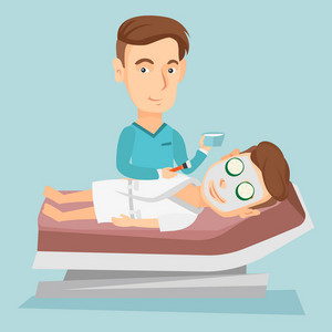 Cosmetologist applying facial cosmetic mask on face of client in beauty salon. Young man lying on table in beauty salon during cosmetology procedure. Vector flat design illustration. Square layout.