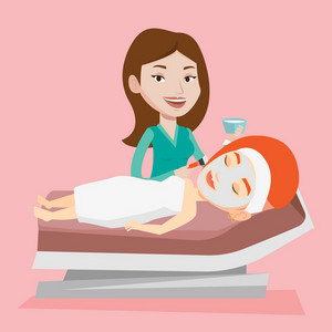 Cosmetologist applying facial cosmetic mask on face of female client in beauty salon. Young woman lying on table in salon during cosmetology procedure. Vector flat design illustration. Square layout.