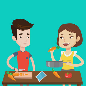 Couple having fun cooking together fresh healthy vegetables. Young couple preparing vegetable meal. Caucasian couple cooking healthy vegetable meal. Vector flat design illustration. Square layout.