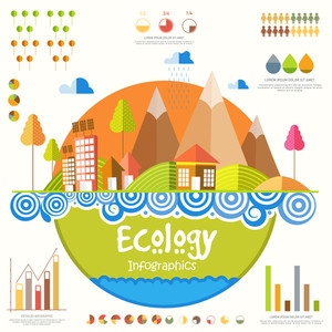 Creative 3d ecological infographic elements with illustration of buildings,globe, trees and wind turbines.