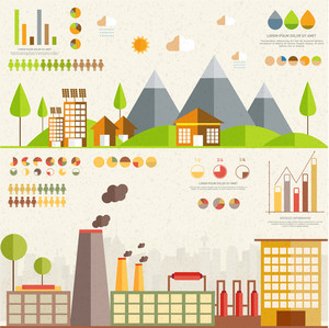 Creative 3D ecological infographic elements with illustration of urban city buildings, factory and solar panel.