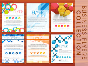 Creative abstract business flyer collection with place holders for your professional content.