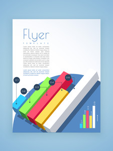 Creative business flyer, template or brochure design with colorful statistic bars for professional presentation.