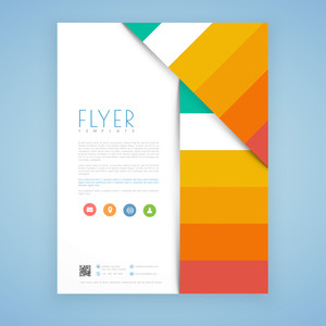 Creative business flyer, template or brochure design with web icons.