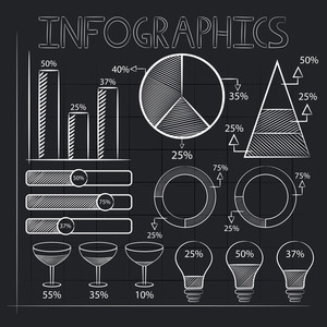 Creative business infographic elements drawn by white chalk on stylish black background.