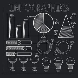白粉筆在時尚的黑色背景繪製創意商業信息圖表元素。