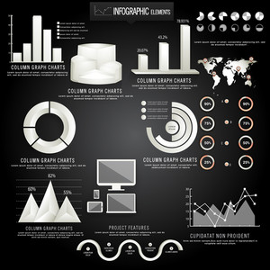 Creative business infographic elements including glossy 3D statistical bars, pie charts, coloumn graphs, digital devices and world map on wooden background.